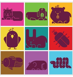 Zoo animals icons vector