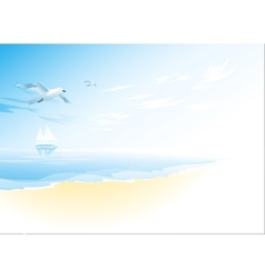 Seascape with sea cloud and flying seagull vector