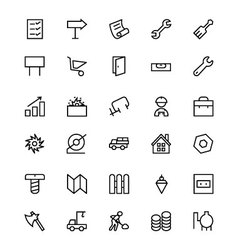 Construction line icons 4 vector