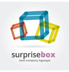 Abstract logotype with two box vector