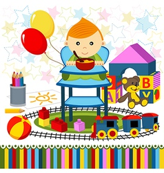 Baby boy highchair vector
