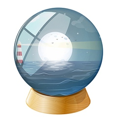 Lighthouse crystal ball vector
