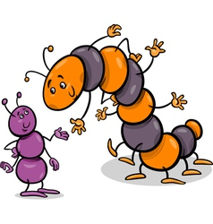 Ant and caterpillar cartoon vector