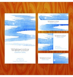 Business set template with blue watercolor vector