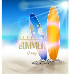 Summer holidays background with surfboards vector
