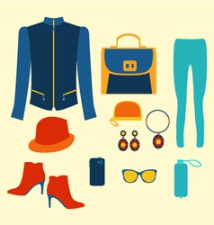Woman clothing fashion set clothing and accessorie vector