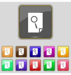 Search in file sign icon find document symbol set vector