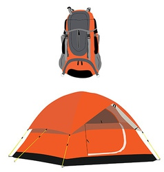 Camping tent and backpack vector