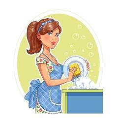 Beautiful girl washing plate vector