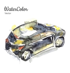 Hand painting abstract watercolor car vector