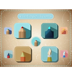 Vintage icons set vector