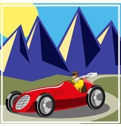 Old fast race car vector