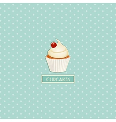 Cupcake and polka dot background vector