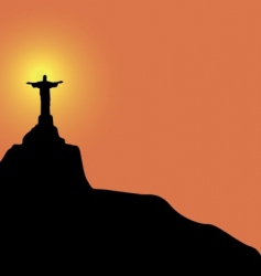 Christ the redeemer statue vector