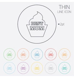 Best mom sign icon muffin food symbol vector