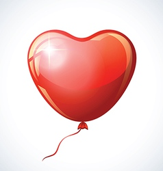 Heart shaped red balloon isolated on white vector