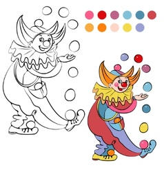 Coloring book with cheerful clown - vector