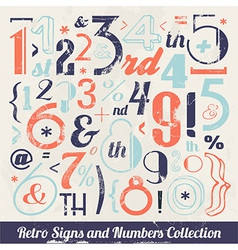 Various retro vintage number and typography vector