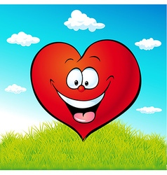 Red heart cartoon on green grass vector