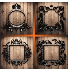 Retro frames on wood set vector