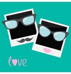 Two instant photos with lips moustache and glasses vector
