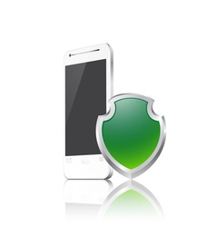 Mobile phone with shield vector