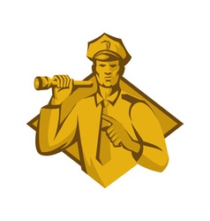 Policeman police officer flashlight vector