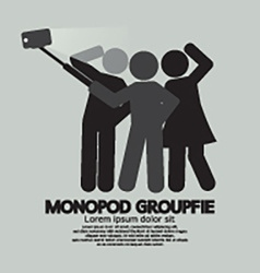 Groupfie symbol a group selfie using monopod vector