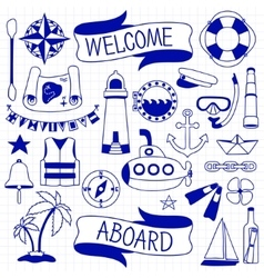 Doodle hand drawn nautical decor set vector