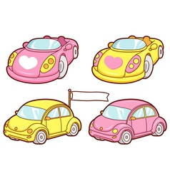 The various yellow and pink cars sets vector