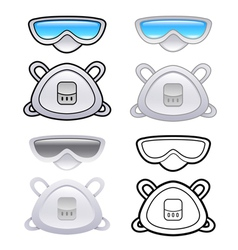 Various styles of mask and goggles sets vector