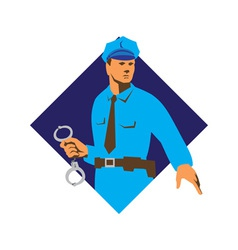 Policeman police officer with handcuffs vector