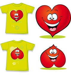 Shirt with red heart cartoon vector