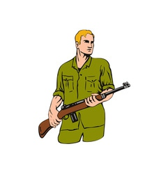 Soldier with gun vector