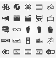 Movie or cinema icons vector