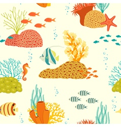 Underwater life pattern on light background vector