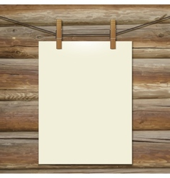 Template white bumani hanging on clothespins vector