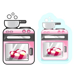 Diverse styles of oven sets vector