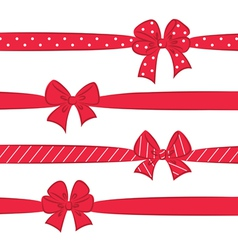 Red bows with ribbons vector