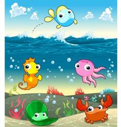 Funny marine family in the sea vector