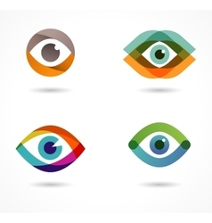 Set of colorful eye icons vector