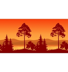 Seamless landscape trees on bank of mountain lake vector