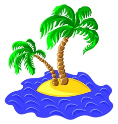 Two palm trees on an island in the ocean vector