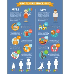Kids playing infographics vector