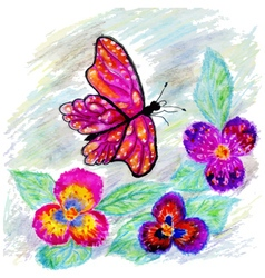 Watercolor butterfly design2 vector