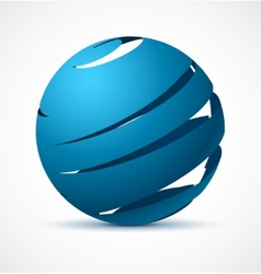 Abstract blue sphere with realistic shadow vector