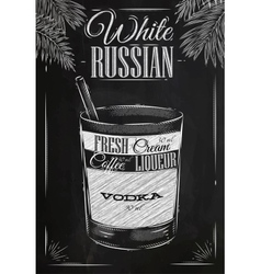 White russian cocktail chalk vector