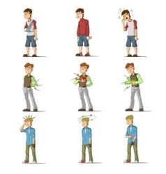 Medicine disease man flat characters set vector