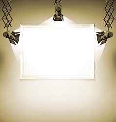 Wall with picture spotlight light spot frame vector