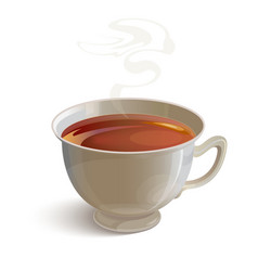 Isolated realistic white tea cup with vapor vector